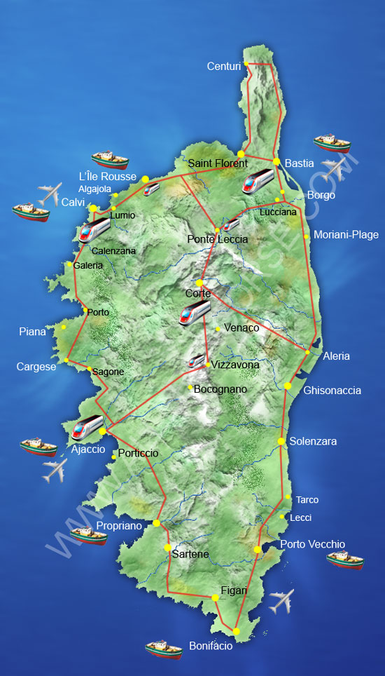 Map of Corsica road ports and airport gotocorsicacom
